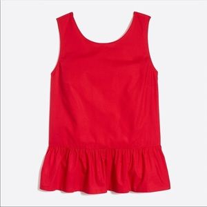 J Crew Factory red peplum bow back top